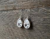 Teardrop Crystal Earrings Swarovski Bridal Earrings Pear Dangle on Silver or Gold French Wire Hook
