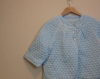 Bed Jacket 1950s vintage quilted short robe Something Blue bridal lingerie M L