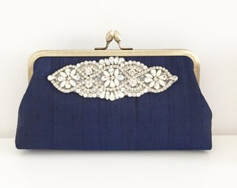 Navy Wedding clutch, Navy Blue Bridal Clutch, Bridesmaid Clutch, Mother of the Bride, Evening Clutch, Party Clutch, Applique, Style C024