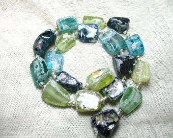 Stunning Genuine Ancient Multicolor Roman Glass  Fragment beads with Extreme Patina 1000-1500 years old G406