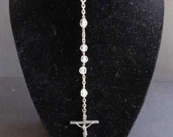 Gorgeous Vintage Rosary. Made of Clear Faceted Beads and Metal. FREE SHIPPING! Expert packaging! BUY today!