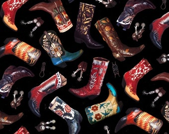 Cowboy Boots - Happy Trails Collection - Elizabeth's Studio 300-BLACK (sold by the 1/2 yard)