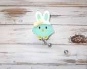 Felt Easter Bunny Chick ID Retractable Badge Reel/Aqua Easter Chick with Bunny Ears Retractable ID Badge Holder with Clip/Interchangeable Id