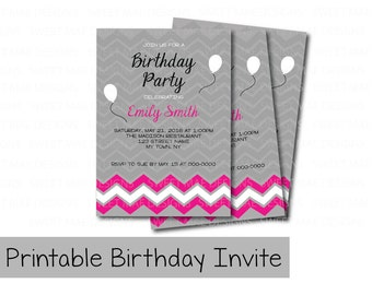 Printable Birthday Invitations, Chevron Birthday Invite, Girl Birthday, Pink Birthday Invite