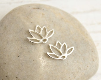 Sterling Silver Lotus Flower Connectors -- Two Pieces -- 925 Sterling Links Pendants Findings