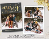 Christmas Card Template , 5x7in Holiday Card Template, Adobe Photoshop psd Template, sku xm16-3