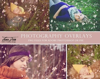 SALE Photography Spring Petals Overlays, Bloom Photo Overlays for Adobe Photoshop, INSTANT DOWNLOAD