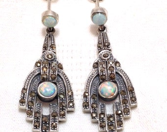 925 Sterling silver Art deco style white gilson opal and marcasite waterfall earrings gift for her
