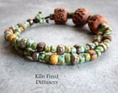 Rustic Stretch Boho Chic Pottery Clay Diffuser Bracelet Essential Oil Hand Crafted Aromatherapy Chunky Beaded Earthy Hippie Healing Jewelry