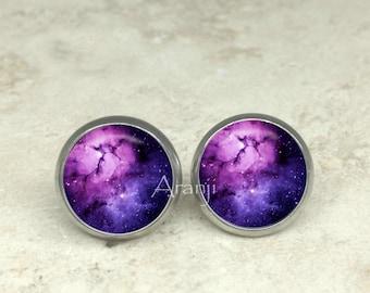 Glass dome purple nebula earrings, purple nebula earrings, nebula stud earrings, nebula earrings, nebula jewelry, astronomy, space earrings
