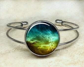Turquoise nebula bracelet, nebula bracelet, nebula bangle, nebula jewelry