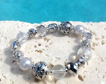 Silver and crystal bracelet, silver crystal bracelet, silver bracelet, crystal bracelet, dark silver bracelet,  bracelet