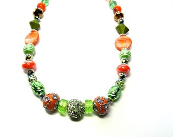 Orange and Green Beaded Necklace