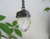 Natural Clear Quartz, Raw Necklace, Tiffany method, Raw Stone Energy, Big Crystal Necklace