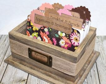 RECIPE BOX, Rustic Recipe Box, Barnwood Recipe Box, Burlap, Brown and Pink, BoHo, Floral Recipe Dividers, Recipe Cards, Rustic Box