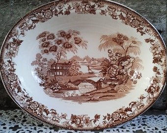 Brown Bowl, Alfred Meakin, Tonquin, Staffordshire, Ironstone, Oval, c.1930s, England, English Transferware, Vegetable Bowl, Holiday