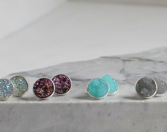 Druzy Earrings with Silver Setting