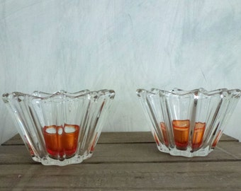 set of two glass candle holders- Christmas decoration- mid century styled interior- glass collection