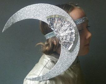 Crescent Moon Headpiece,  silver moon headband, moon costume, moon headdress, solar system party, solar system headpiece, women's costume