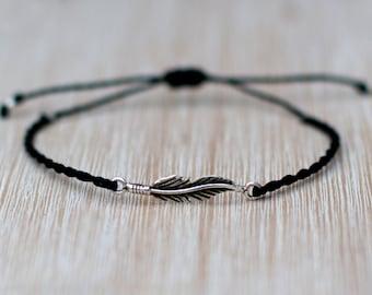 Feather Bracelet - 925 Silver charm bracelet - Boho jewelry - Bohemian jewelry - Minimalist jewelry - Hipster bracelet - Hippie jewelry