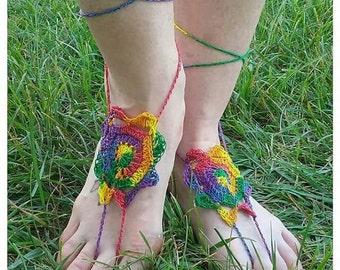 Rainbow Sun Crocheted Barefoot Sandals