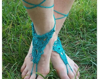Blue Lace with Beads Crocheted Barefoot Sandals