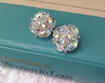 Rhinestone earrings, clip-on / sparkly Aurora Borealis rhinestones / vintage bride, Mother of the Bride / 50s Hollywood style