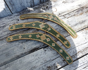 3 Antique Vintage Florentine Green Gold Wooden Clothes Hangers Italy Italian