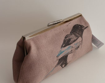 Screen-printed Pink Magpie Clutch Bag