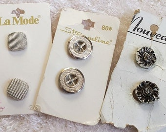 Six Silver Toned Buttons, Classic Vintage Buttons, 3 sets of 2 buttons