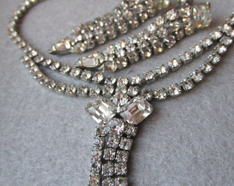 Exceptional 1950's Dripping Rhinestones Festoon Necklace & Earrings Set, Vintage Demi Parure