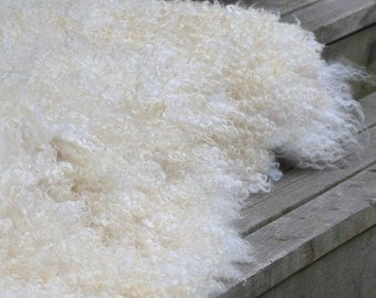 "White Gothland - hand made felt fur rug from organic wool and sheep curls - pet and eco-friendly-29"" x 50""(76x130cm)-ready to ship"