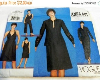 "SALE 2000s Halter Dress, Tank Top, Jacket, Skirt and Pants Anna Sui  sewing pattern Vogue 2553 Size 6-8-10 Size 30.5-31.5-32.5"" UNCUT FF"