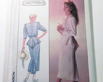 """1980s Steampunk Victorian Style Blouse with Peplum Fishtail Skirt Jessica McClintock sewing pattern Simplicity 8223 Size 10 Bust 32.5"""""""