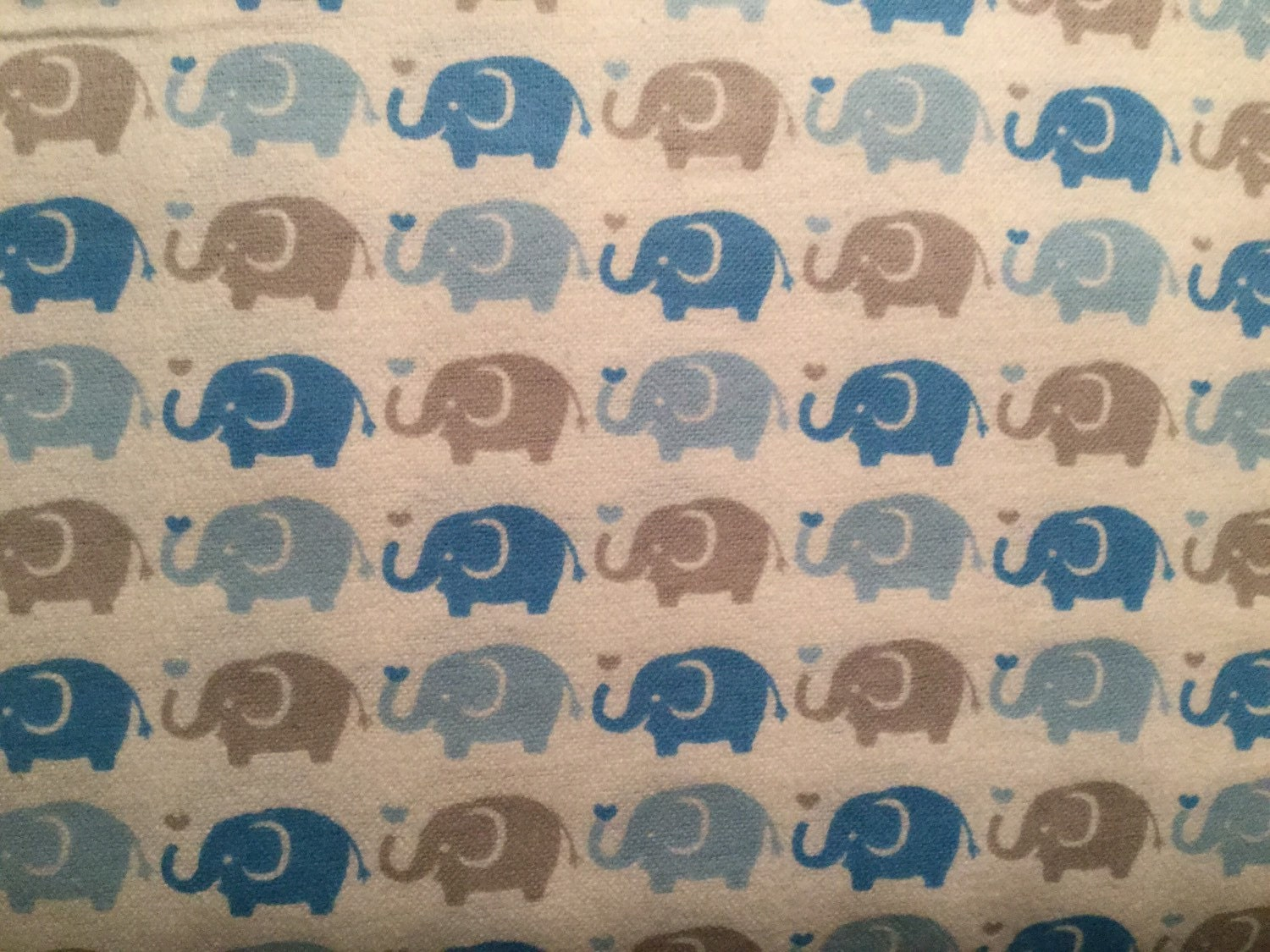 Flannel elephant fabric elephant flannel blue by crazy4claire for Elephant fabric