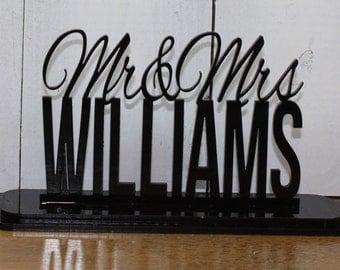 """Wedding Cake Topper Mr and Mrs Surname """"Mr & Mrs"""" YOUR Last Name"""