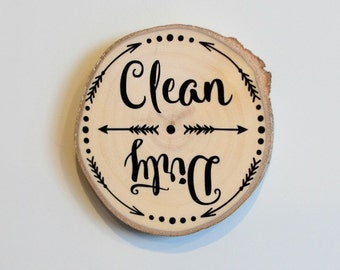 Rustic Clean Dirty Kitchen Dishwasher Wooden Magnet
