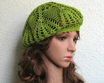 Women's Crochet Summer beret Summer hat Apple Green Cotton beret hat Women Summer hat Women Slouchy Beret Tam Hat