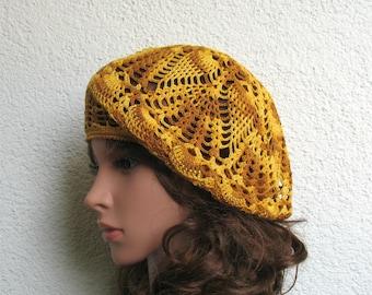 Women's Crochet Summer beret Boho Summer hat Brown Yellow Cotton beret hat Women's Summer hat Women's Slouchy Beret Tam Hat