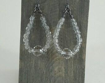 Clear Beaded Dangle Earrings - Dangle & Drop Earrings - Gift for Her - Beaded Earrings - Wire Wrap Earrings - Statement Earrings