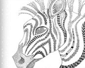 """Zebra zen BW 18"""" x 21"""""""