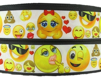 """Emoji Expression Yellow & White Inspired 1.0"""" Grosgrain Ribbon for Hair Bows, Kids Crafts, Scrapbook Deco, Cards Making, Gift Wrapping"""