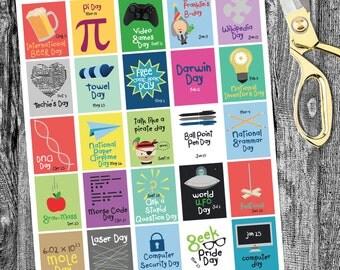 Geek Holiday Planner printable, Planner Printables, Holiday planner, Holiday Sticker Squares, Vertical, printable planner stickers- Vertical