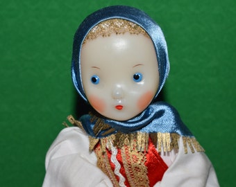 Vintage Russian Teapot Doll  USSR  Soviet Folk Art Tea Souvenir 1970s