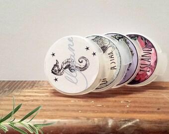 Solid Perfume Sample Set 9, botanical Fragrance sampler, Green Beauty, Green Living, Gift For Her