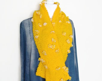 Yellow chunky knitting scarf, child scarf, hand knit scarf, winter knitted scarf, handmade scarf, UK scarf shop