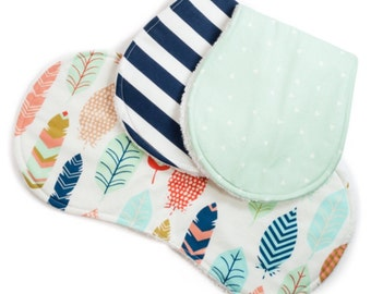 Gender Neutral Baby Burp Cloth Set - Set of 3 -  Feather Collection -  Baby Shower Gift - Baby Boy or Baby Girl
