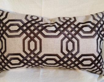 Single Lumbar Decorative Pillow Cover-14 X 23 Inch-Interlocking Design-Accent Kidney Pillow Cover-Free Shipping.