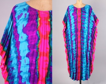 1970's Boho Cover Up // Vintage Kaftan in Rainbow Psychedelic Print // Hippy Chic Palm Springs Style Coverup (any size)