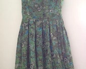 Vintage green blue and white with flowers dress